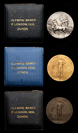 A trio of London 1908 London Olympic Games donor's participation medal
