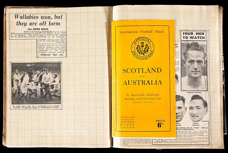 A Scottish rugby Scrapbook circa 1946-47 to 1949-50, 168 pages neatly