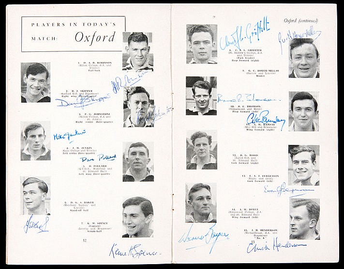 A run of 12 Oxford University signed Varsity Match rugby programmes 19