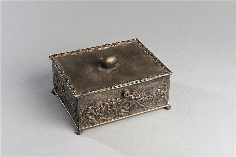 Victorian metalware box with rugby decoration, embossed continuous de