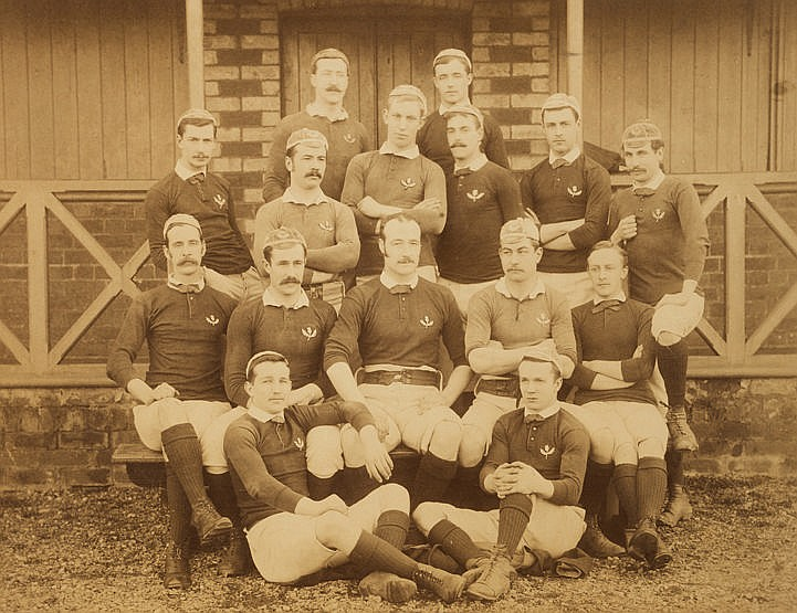 An original sepia-toned photograph of the Scottish international rugby