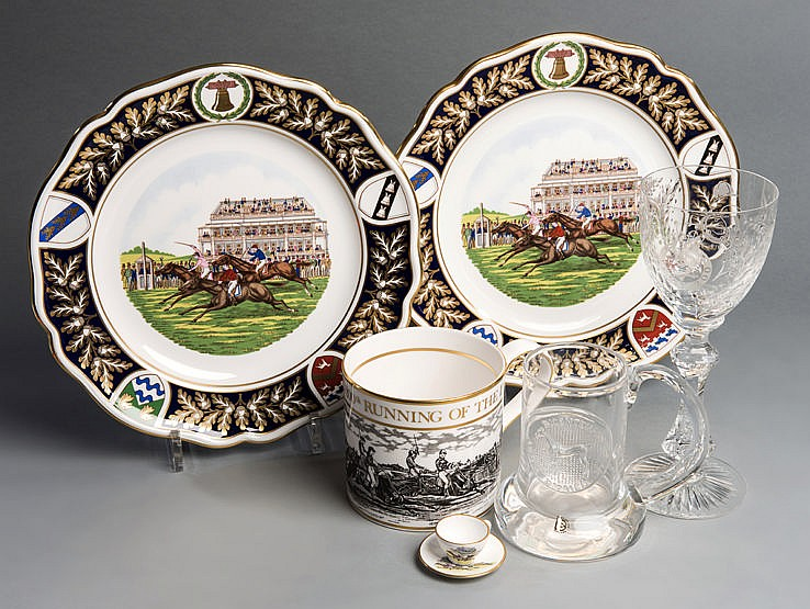 Commemorations of the bicentenary Derby Stakes, i) Two Spode bone chi