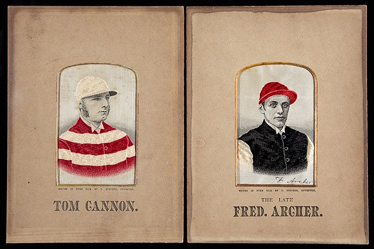 Two stevengraphs of the jockeys Fred Archer and Tom Cannon