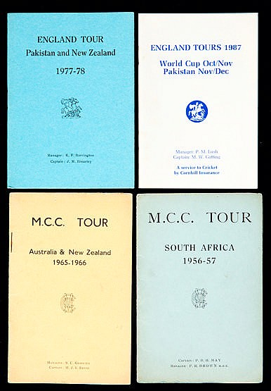 Collection of 40 official England Cricket Tour Itineraries,  dating be