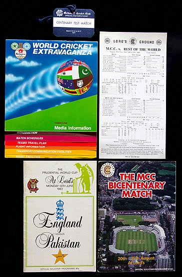 Cricket ephemera, including an autographed copy of the MCC Bicentenar
