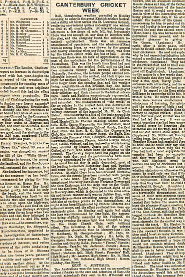 Seven issues of English newspapers carrying reports of cricket Matches