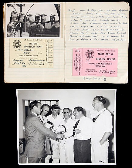 Journal kept by the England cricket team physiotherapist Harold Dalton