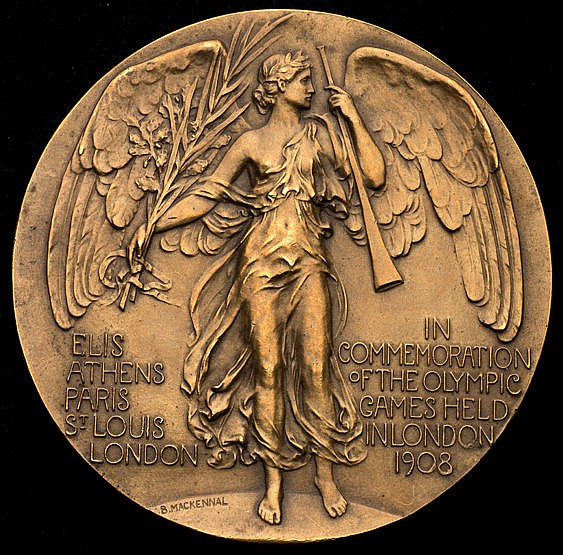 A 1908 London Olympic Games participation medal, the rarer issue in b