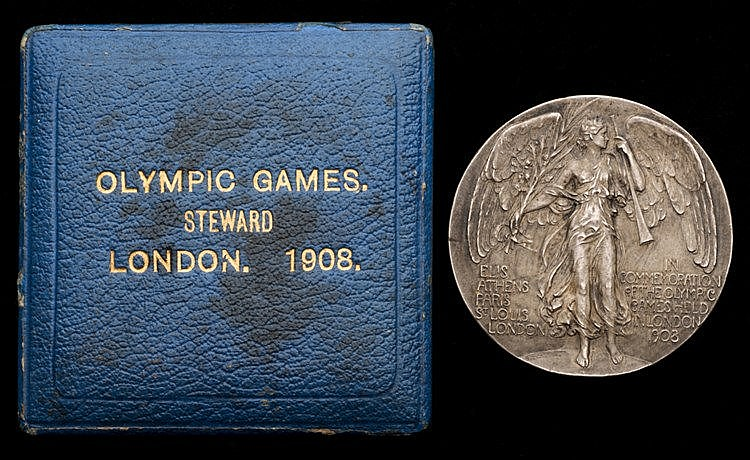 London 1908 London Olympic Games steward's participation medal,  the s