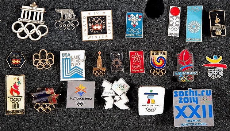 Set of 22 Olympic Games logo pins, Berlin 1936, Rome 1960, Innsbruck