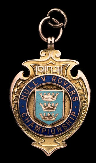 9ct. gold & enamel Hull Kingston Rovers medal,  inscribed HULL v ROVER