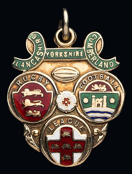 Rugby League Challenge Cup medal,  silver-gilt & enamel, inscribed LAN