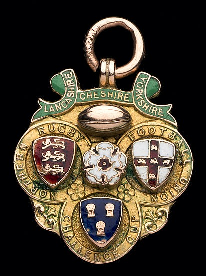 Rugby League Challenge Cup medal,  9ct. gold & enamel, inscribed LANCA