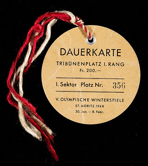 St Moritz 1948 Winter Olympic Games admittance pass, 200 Swiss Francs