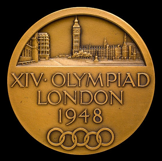 A London 1948 London Olympic Games participant's medal, designed by B