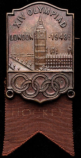 London 1948 Olympic Games participant's badge for field hockey,  silve