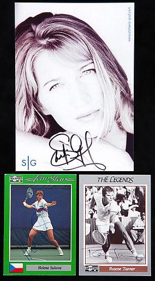 Seven autographed tennis promo postcards, Steffi Graf (x 2), Wilhelm