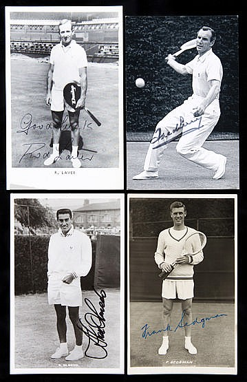 A group of 13 signed postcards of tennis players,  Ken Rosewall, Roger
