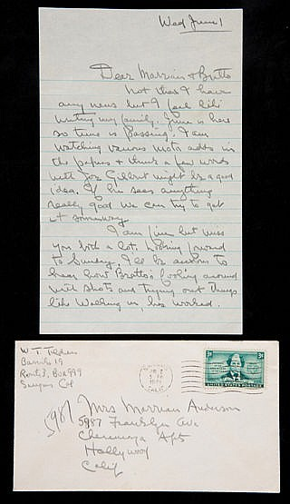 Signed manuscript letter from the tennis champion Bill Tilden to the c