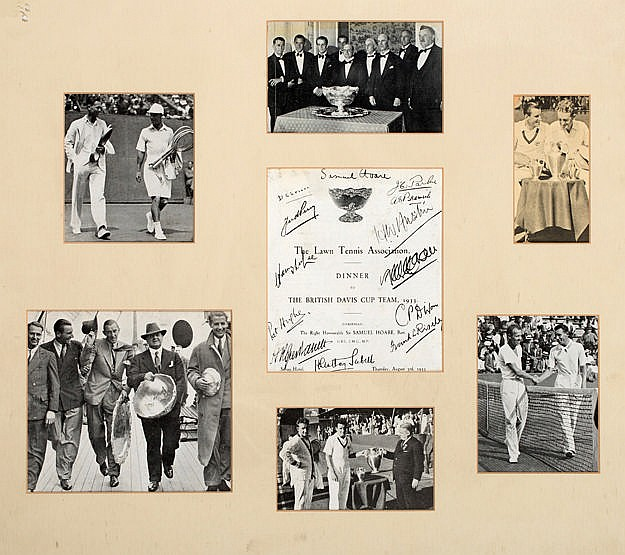 Tennis memorabilia including a signed 1933 British Davis Cup Team pres