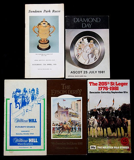 Five Shergar racecards,  25.10.1980 Doncaster William Hill Futurity (2