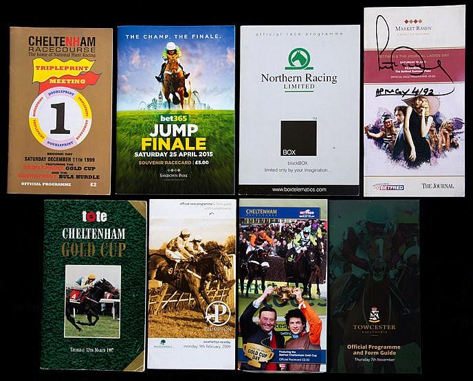 Eight racecards representing landmark days in the career of the jockey
