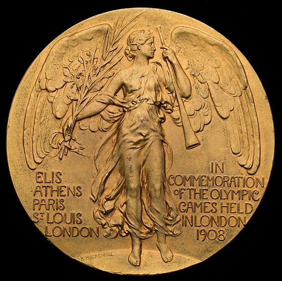 Rare gold plated bronze version of the London 1908 London Olympic Game