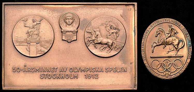 Stockholm 1956 Equestrian Olympic Games participation medal,  gilt-bro