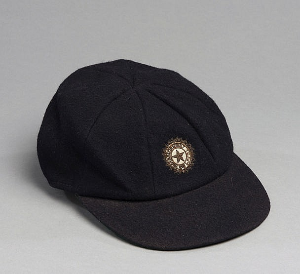 Farokh Engineer India cricket cap, dark green with gilt-wire star Pro