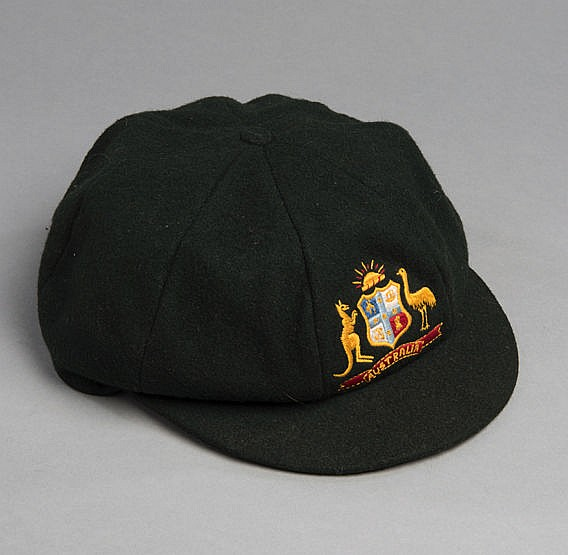 Dennis Lillee Australia 'baggy green' cricket cap, dark green with Au