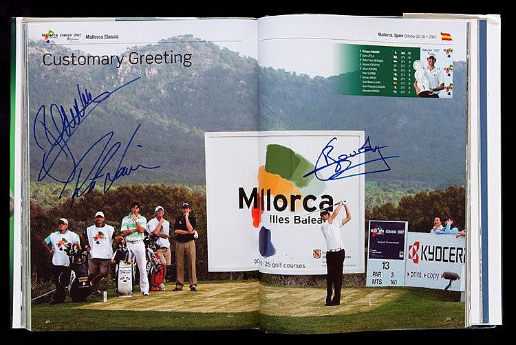 Multi-signed European Tour Golf Yearbook 2008,  contains 220 signature