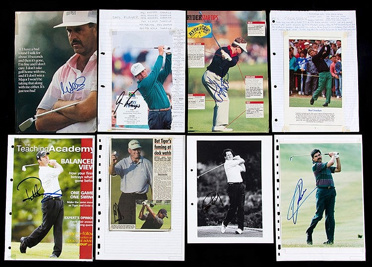 A collection of golfer signed pictures, mostly magazines plates, occa