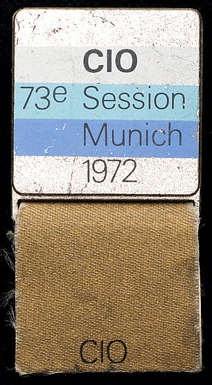73rd International Olympic Committee Session badge for Munich in 1972,