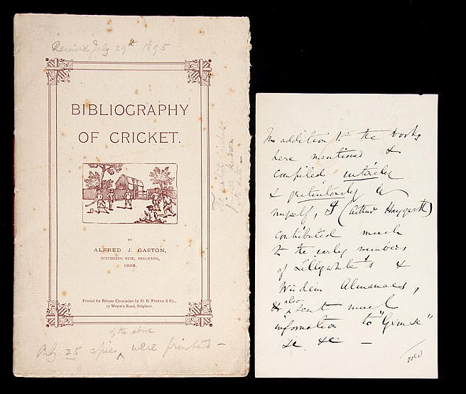 Gaston (Alfred J.) Bibliography of Cricket,  presentation copy printed