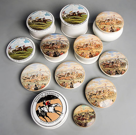 A collection of racing-themed Staffordshire pot lids,  seven similar 1