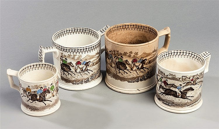 A group of four Victorian gradated Staffordshire pottery