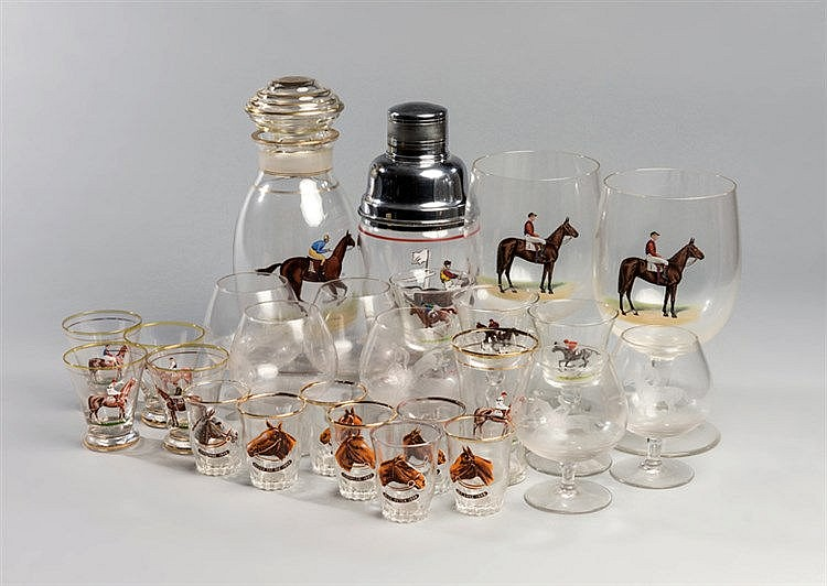 A collection of racing-themed glassware,  20th century with enamelled