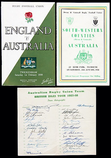 Official autographs sheet of the Australian Rugby Union Team who toure