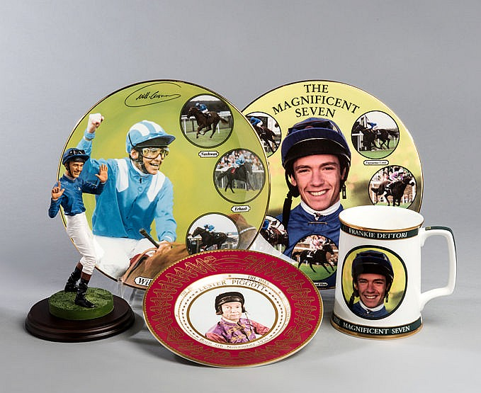 A group of Chinaware commemorations of jockeys, i) Royal Worcester pl