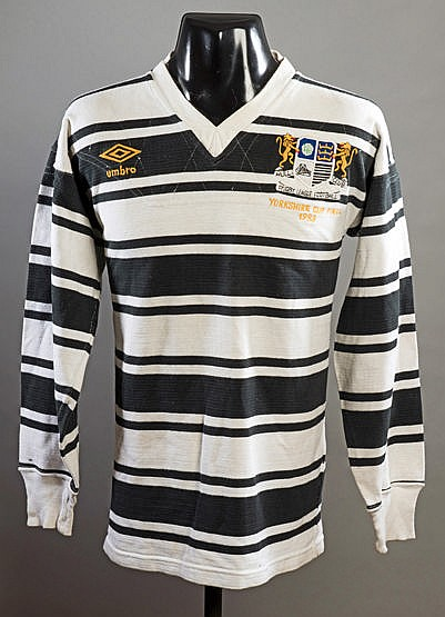 Mick Crane Hull RFC black & white hooped No.13 shirt from the 1983 Yor