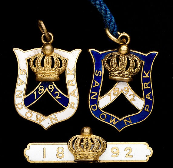 A group of three 1892 Sandown Park badges, consisting of a gentleman'