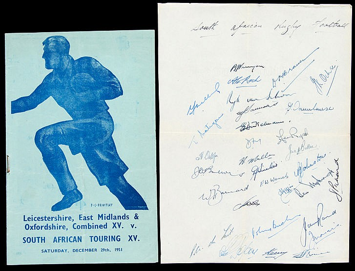 The autographs of the South Africa rugby team who toured Great Britain