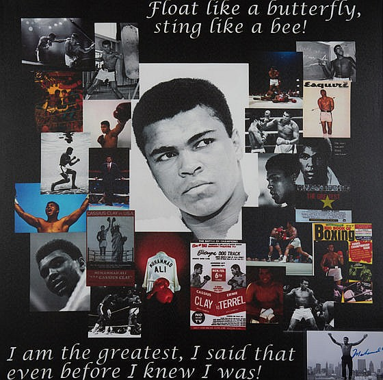 Muhammad Ali signed photographic montage,  a miscellany of Ali imagery