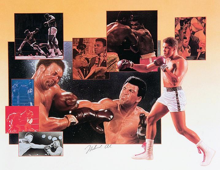 Muhammad Ali signed photographic montage, lithographic print signed i
