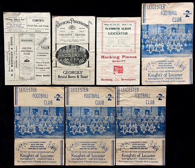 Seven 1930s Leicester Rugby Union programmes,  4 homes all from season