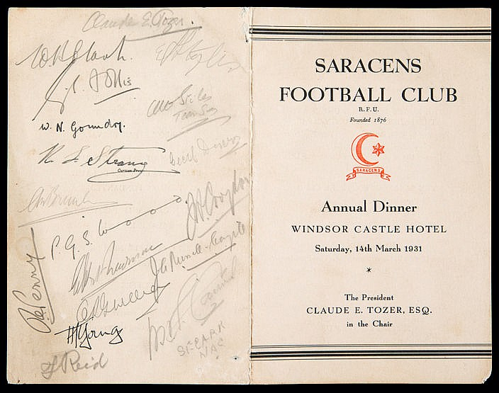 Signed Saracens Rugby Football Club 1931 Annual Dinner menu,  held at
