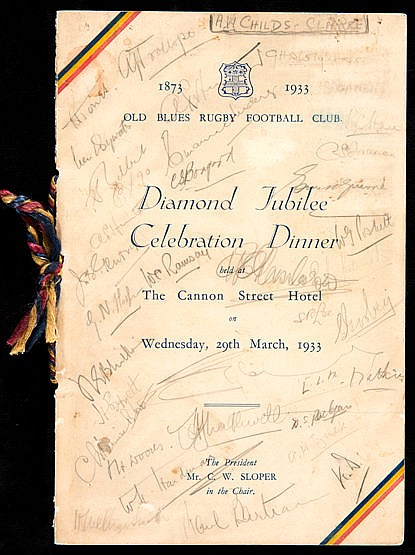 Signed Old Blues Rugby Football Club Diamond Jubilee Celebration Dinne