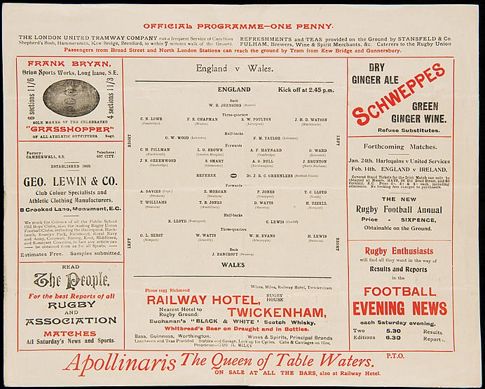 England rugby union international programme from the 1914 Grand Slam s