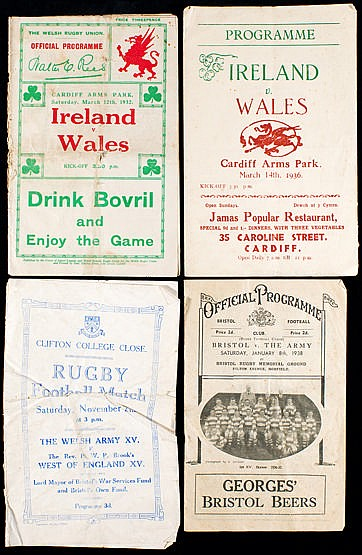 Three 1930s rugby programmes,  two Wales v Ireland internationals 12.3