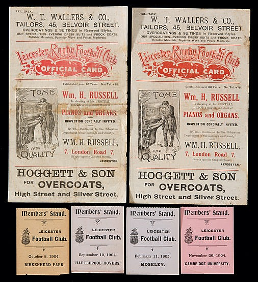Early Leicester rugby match programmes and tickets,  programmes v Swan